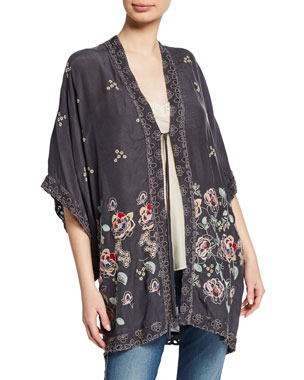 481a028a248 Johnny Was Plus Size Elijah Floral-Embroidered Georgette Kimono