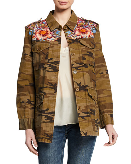 Johnny Was Caila Camo-Print Button-Front Military Jacket w/ Embroidery