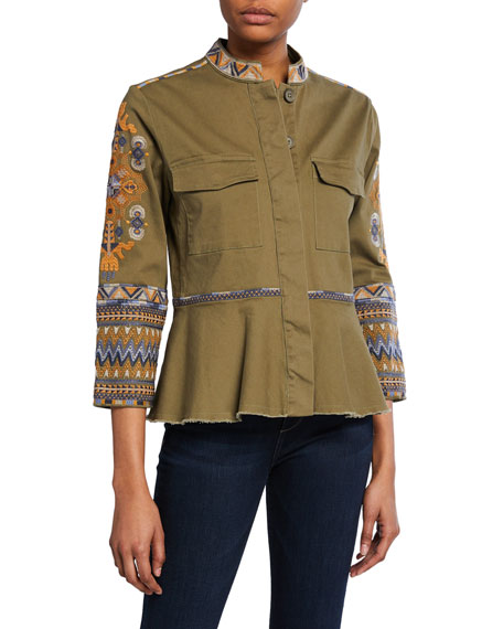 Johnny Was Amika Embroidered Button-Front 3/4-Sleeve Peplum Military Jacket