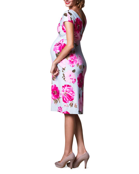Image 2 of 2: Tiffany Rose Maternity Floral-Print Cap-Sleeve Shift Dress