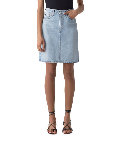 Iris High-Rise A-Line Light-Wash Denim Skirt
