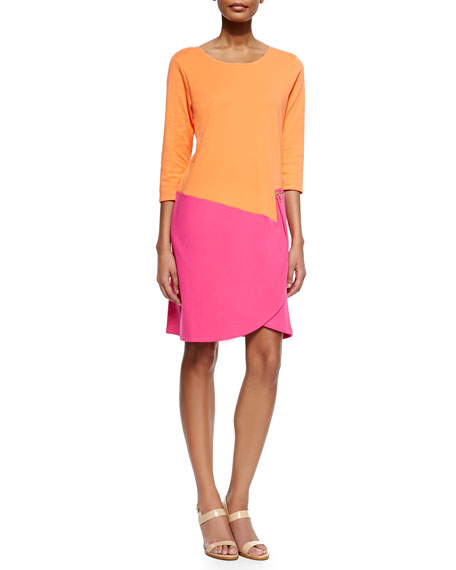 Joan Vass 3/4-Sleeve Colorblock Dress, Fuchsia/Coral
