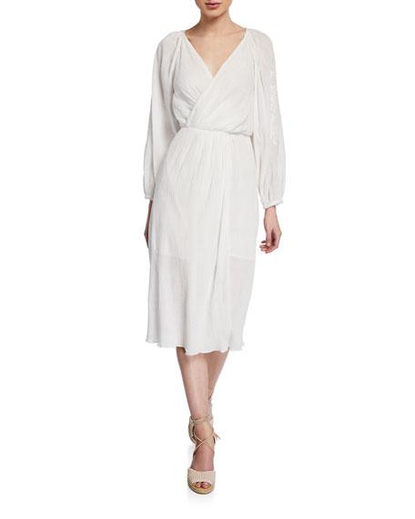 Joie Lidayne Embroidered Wrap Midi Dress