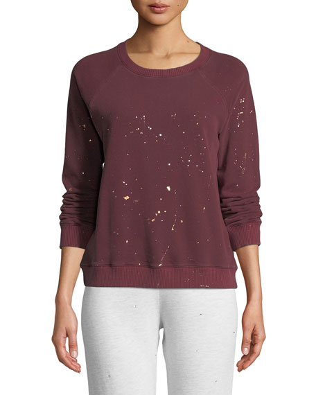 Monrow Sweaters Vintage Raglan Pullover Sweater with Foil Splatter