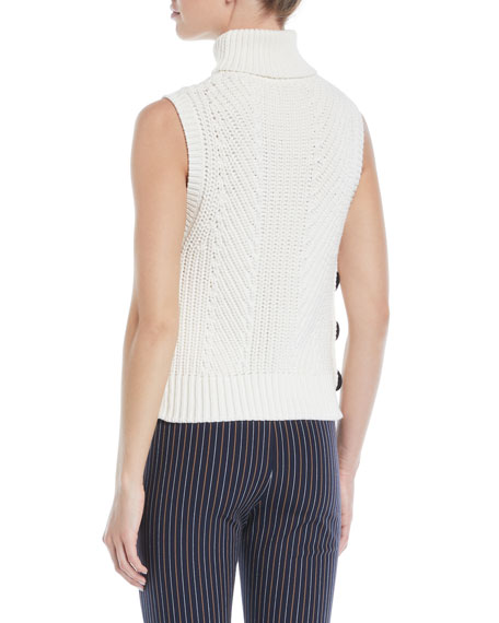 Derek Lam 10 Crosby Sleeveless Chunky Turtleneck Sweater w/ Buttons