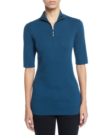 Lafayette 148 Knits HALF-SLEEVE RIB-KNIT SWEATER