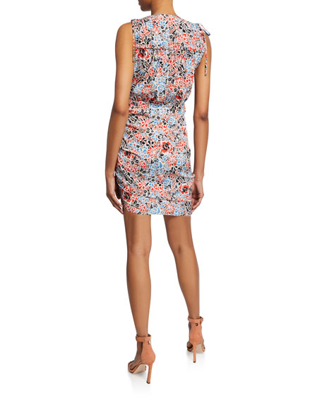 Image 3 of 4: Veronica Beard Soheyla Floral Ruched Mini Dress