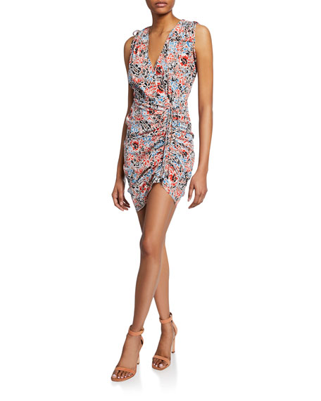 Image 1 of 4: Veronica Beard Soheyla Floral Ruched Mini Dress