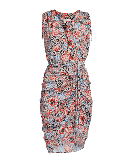 Image 4 of 4: Veronica Beard Soheyla Floral Ruched Mini Dress