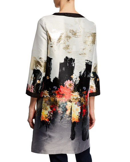 Image 3 of 3: Berek Petite Abstract Floral Long Dressy Jacket