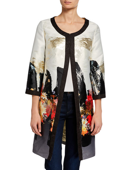 Image 1 of 3: Berek Petite Abstract Floral Long Dressy Jacket