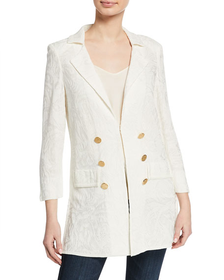 Image 3 of 4: Misook Plus Size Textured Long Jacket with Golden Buttons