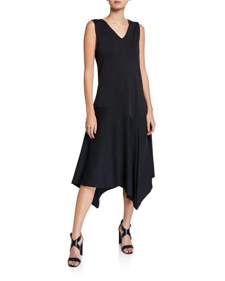 Joan Vass Plus Size V-Neck Tank Dress with Asymmetric Hem