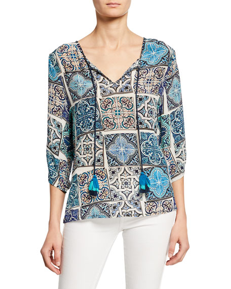 Tolani Plus Size Edith Mosaic Tile Print Split-Neck 3/4-Sleeve Silk Tunic