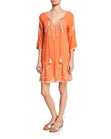 Tolani Plus Size Kezia Embroidered Split-Neck 3/4-Sleeve Cotton Dress w/ Pockets
