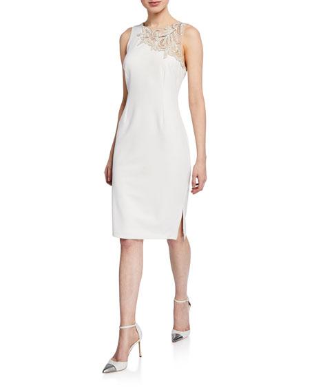 Aidan Mattox Dresses SLEEVELESS CREPE COCKTAIL DRESS W/ SIDE SLIT & BEADED DETAIL