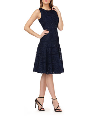 1724bddee56 Carmen Marc Valvo Infusion Sequin Embroidered Sleeveless Fit- -Flare Dress