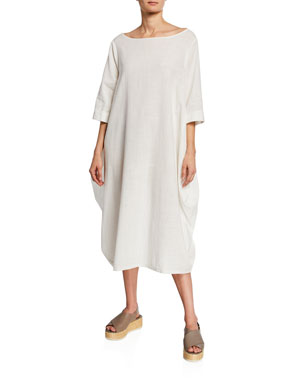 0baa40ad747 DUBGEE by Whoopi Boat-Neck 3 4-Sleeve Cocoon Dress w  Pockets