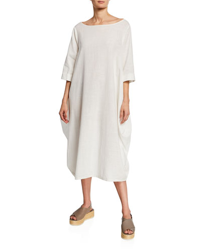 Boat-Neck 3/4-Sleeve Cocoon Dress w/ Pockets