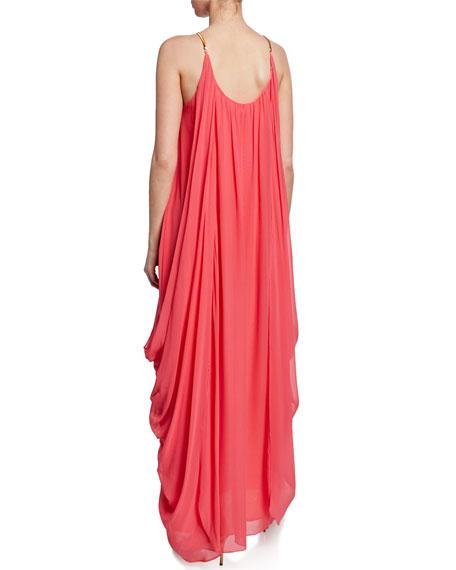 Trina Turk Blue Lagoon Silk Maxi Halter Dress