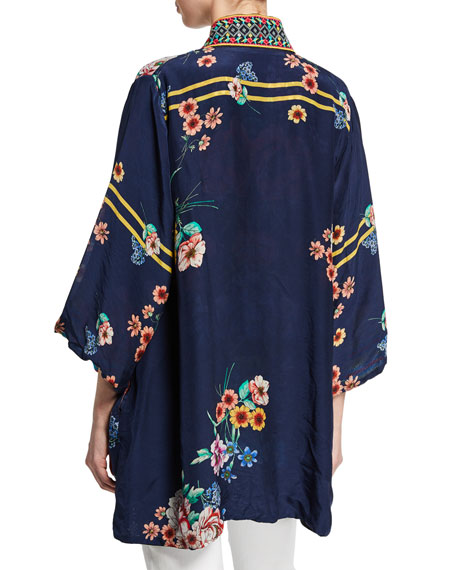 Johnny Was Petite Maci Floral Georgette Reversible Kimono w/ Embroidered Trim