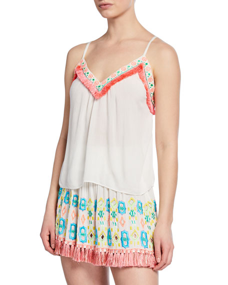 Ramy Brook Madge Embroidered Fringe Tank