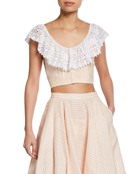 Miguelina Effie Linen Cropped Blouse with Lace