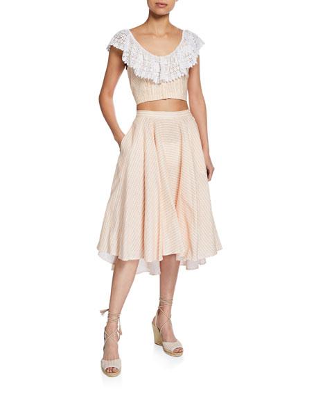 Miguelina Jackie Gingham Linen Skirt
