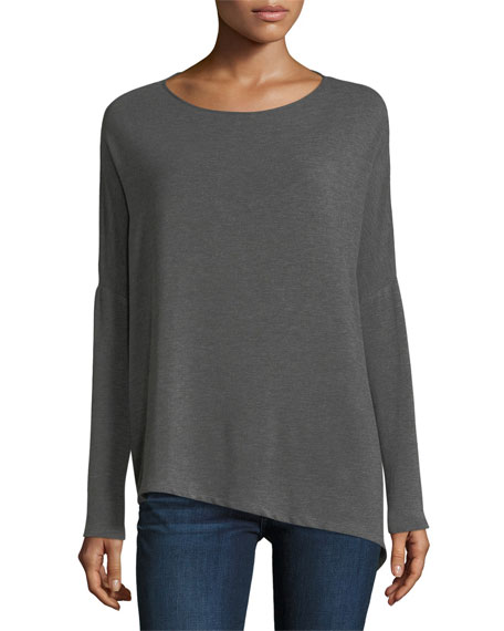 Majestic Paris for Neiman Marcus Asymmetric Boat-Neck French Terry Top