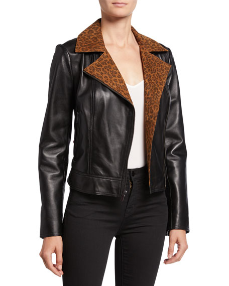 Neiman Marcus Leather Collection Lambskin Leather Moto Jacket with Leopard-Print Collar