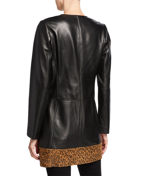Neiman Marcus Leather Collection Leopard-Print Block Topper Jacket