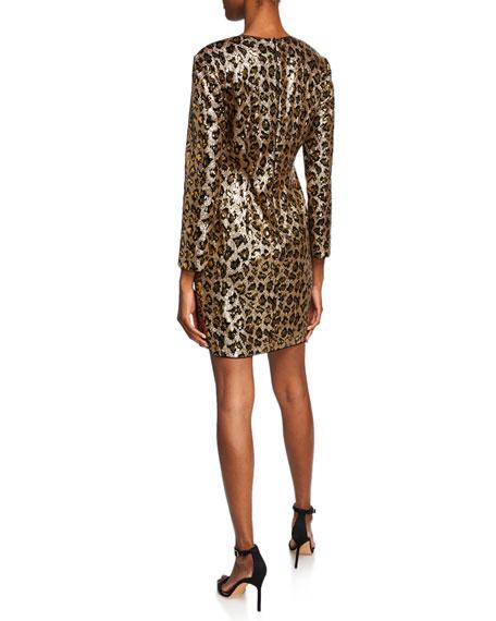 Aidan by Aidan Mattox Leopard Sequin Long-Sleeve Sheath Dress