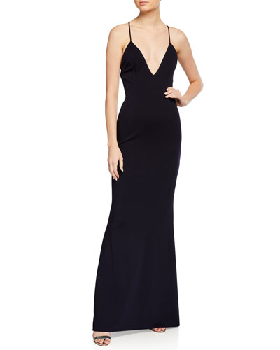Stamina Low V-Neck Stretch Crepe Gown with Crisscross Back