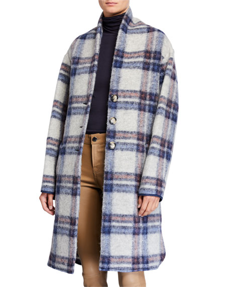 Etoile Isabel Marant Gabriel Plaid Wool Long Coat