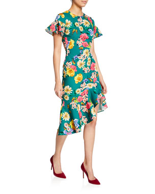 be02593be7 Black Halo Breelle Floral-Print Flutter-Sleeve Asymmetric Flounce Dress