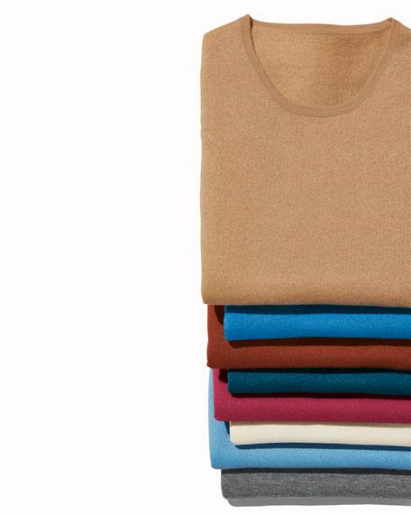 Neiman Marcus Cashmere Collection Crewneck Long-Sleeve Superfine Cashmere Sweater