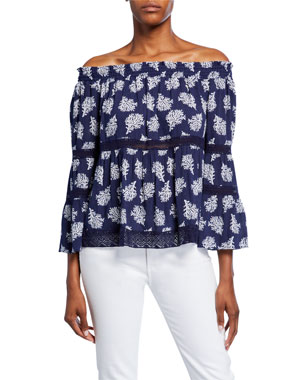 1df612f4855 MICHAEL Michael Kors Paint Reef Off-the-Shoulder Bell-Sleeve Top