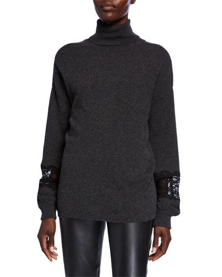 Neiman Marcus Cashmere Collection Cashmere Turtleneck Blouson-Sleeve Sweater with Lace Insets