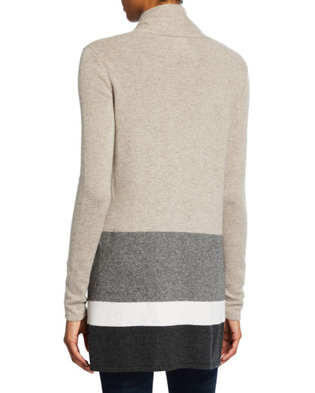 Neiman Marcus Cashmere Collection Block Stripe Open-Front Cashmere Cardigan with Chain Trim