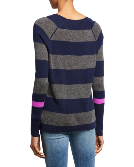 Lisa Todd Hype Multi-Stripe V-Neck Cashmere Sweater w/ Pop Color Sleeve