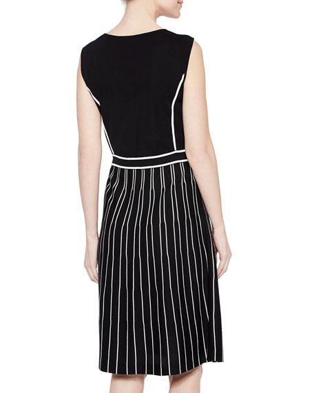 Misook Sunburst Pattern Sleeveless A-Line Dress