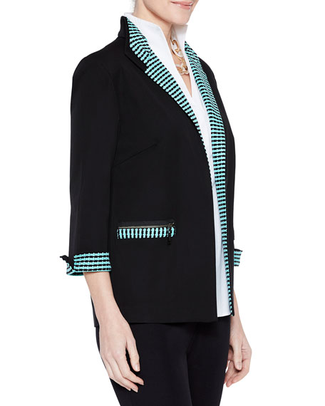Misook Cotton Jacket with Contrast Trim