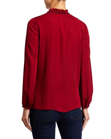Kobi Halperin Paula Long-Sleeve Beaded Tassel-Tie Silk Blouse