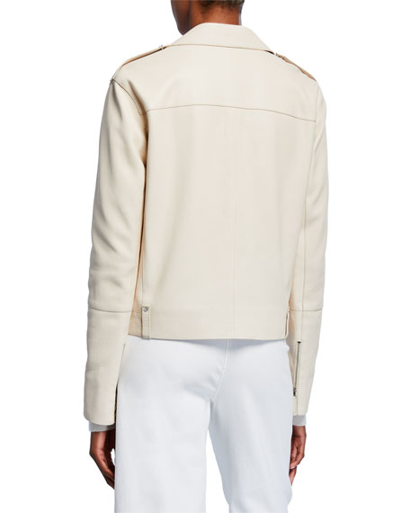 Lafayette 148 New York Bernice Full Grain Lambskin Leather Moto Jacket
