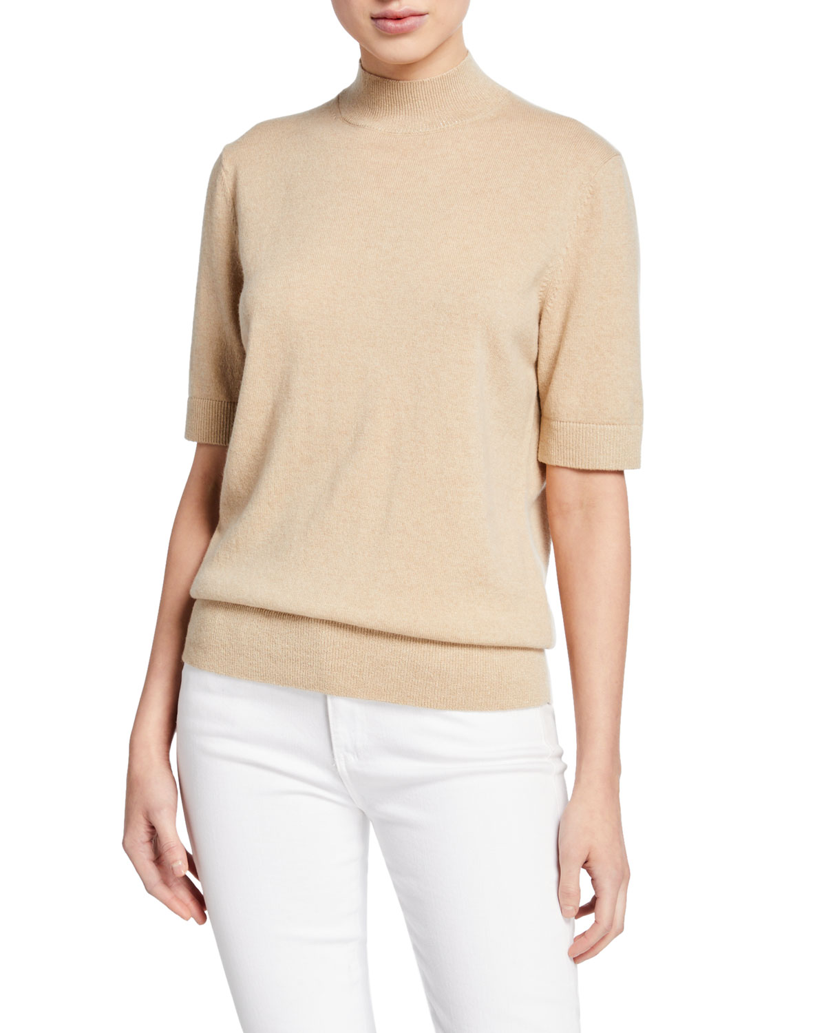 Mock Neck Cashmere Sweater with Lurex
