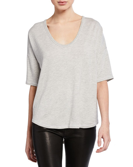 Rag & Bone Marlon Scoop-Neck Elbow-Sleeve Tee
