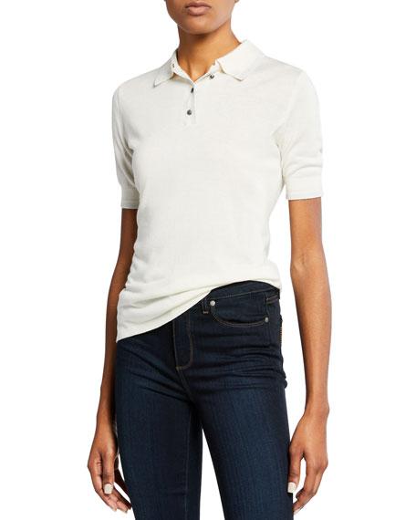 Neiman Marcus Cashmere Collection Superfine Cashmere Short-Sleeve Polo Top w/ Metallic Trim
