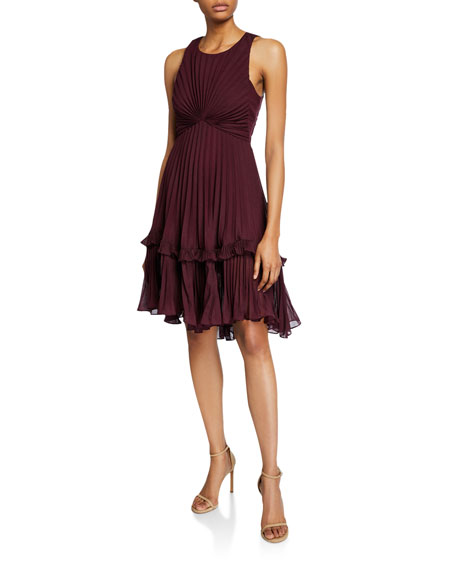 Halston Syrah Sleeveless Pleated Dress with Flounce Detail