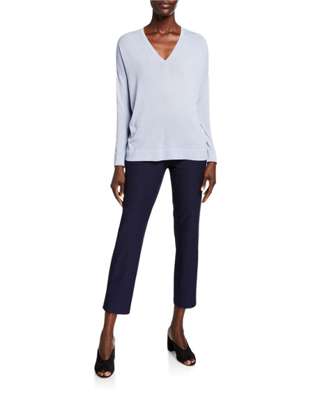 Eileen Fisher Plus Size Washable Stretch Crepe Skinny-Leg Ankle Pants