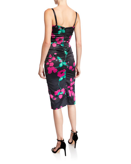Image 2 of 2: Milly Dayna Painted Floral Sleeveless Satin Cocktail Dress